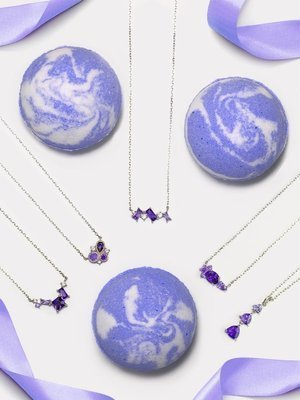 Charmed Aroma Amethyst jewel bath bomb with Sterling Silver 925 Necklace