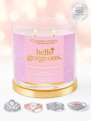 Charmed Aroma jewel soy scented candle with Silver Ring 12 oz 340 g - Hello Gorgeous