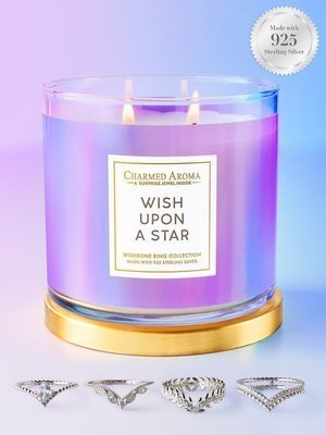 Charmed Aroma jewel soy scented candle with Silver Ring 12 oz 340 g - Wish Upon A Star
