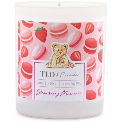 Ted & Friends scented soy candle in white glass 220 g - Strawberry Macaron