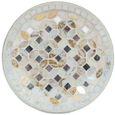 Woodbridge candle plate 16 cm Cream & Gold Metallic Mosaic
