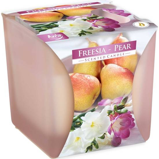 Bispol scented candle square satin glass 2 wicks 150 g - Freesia Pear
