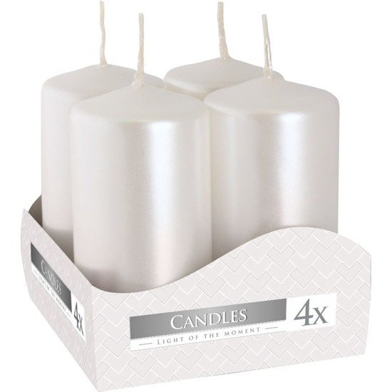 Bispol votive unscented solid candle set 4 pcs 80/38 mm - White Pearl