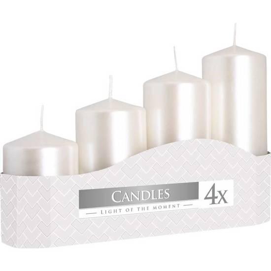 Bispol votive unscented solid candle set 4 pcs Advent - White Pearl