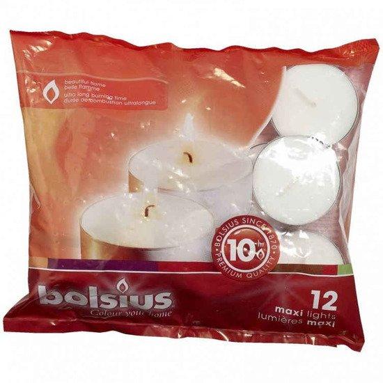 Bolsius Maxilights podgrzewacze maxi świece bezzapachowe 12 szt w foliowym opakowaniu ~ 10 h