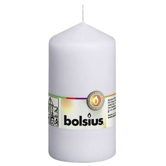Bolsius unscented solid pillar candle 13 cm 130/68 mm - White