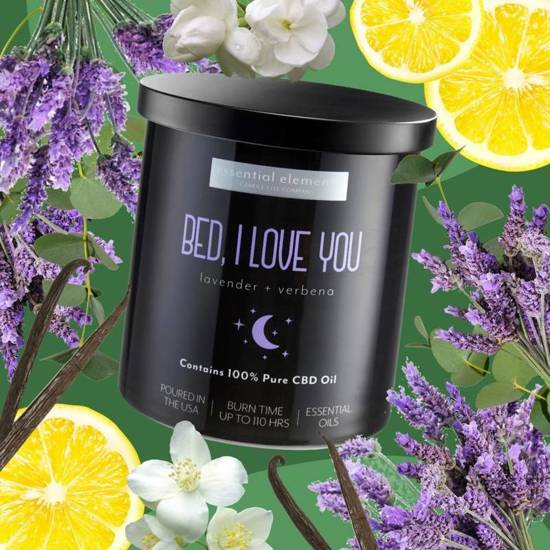 Candle-lite CBD Hemp Scented Glass Candle with Essential Oils 453 g 16 oz - Bed, I love you