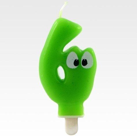 Tamipol świeczka urodzinowa cyferka zielona z oczkami dla dzieci na szóste urodziny - cyfra 6