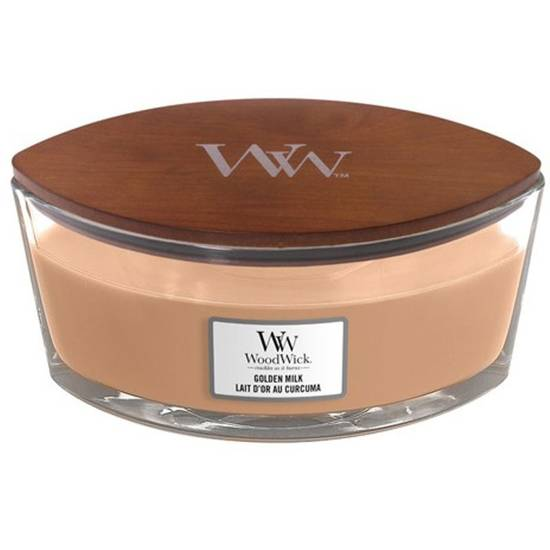 Woodwick Core Heartwick Ellipse Large Scented Candle with Wooden Wick 16 oz 453.6 g - Golden MIlk