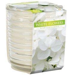 Bispol biała świeca zapachowa w prążkowanym szkle 130 g - White Flowers