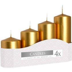 Bispol świece tradycyjne adwentowe słupki zestaw 4 szt - Złote metaliczne