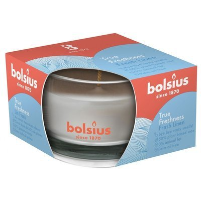 Bolsius świeca zapachowa w szkle 50/80 mm True Freshness biała - Fresh Linen Świeże Pranie