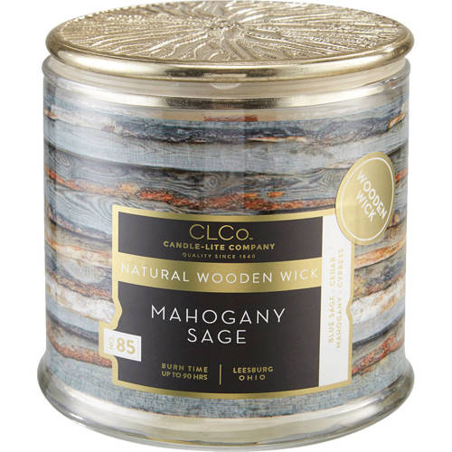 Candle-lite CLCo Candle Wooden Wick 14 oz luksusowa świeca zapachowa z drewnianym knotem ~ 90 h - No. 18 Mahogany Sage