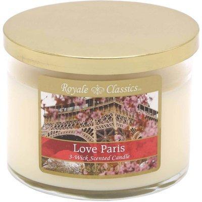 Candle-lite Royale Classics 11.5 oz luksusowa świeca zapachowa w szkle z trzema knotami - Love Paris