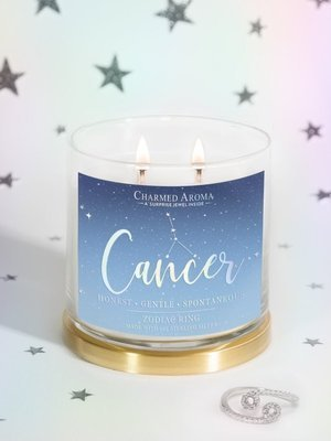 Charmed Aroma sojowa świeca zapachowa z biżuterią 12 oz 340 g Pierścionek - Cancer Rak Zodiak