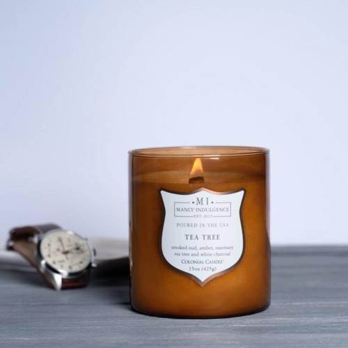 Colonial Candle sojowa świeca zapachowa w szkle drewniany knot 15 oz 425 g - Tea Tree