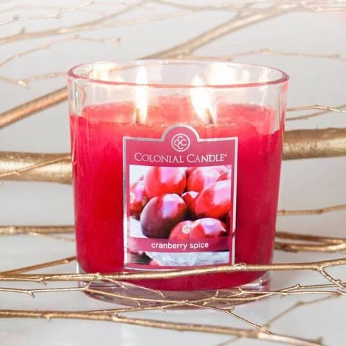 Colonial Candle średnia świeca zapachowa w owalnym szkle 8 oz 226 g - Cranberry Spice