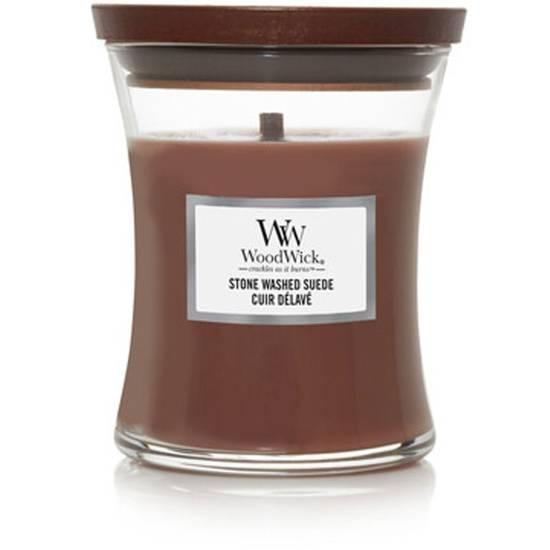 WoodWick Core średnia świeca zapachowa z drewnianym knotem 9.7 oz 275 g - Stone Washed Suede