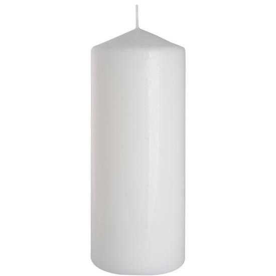 Bispol świeca bezzapachowa bryłowa pieńkowa słupek 200/78 mm - Biała