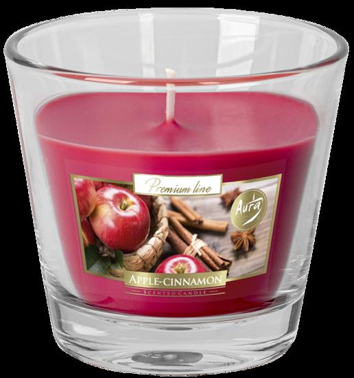 Bispol świeca zapachowa w szkle różowa 140 g Aurelia - Apple Cinnamon Jabłko Cynamon