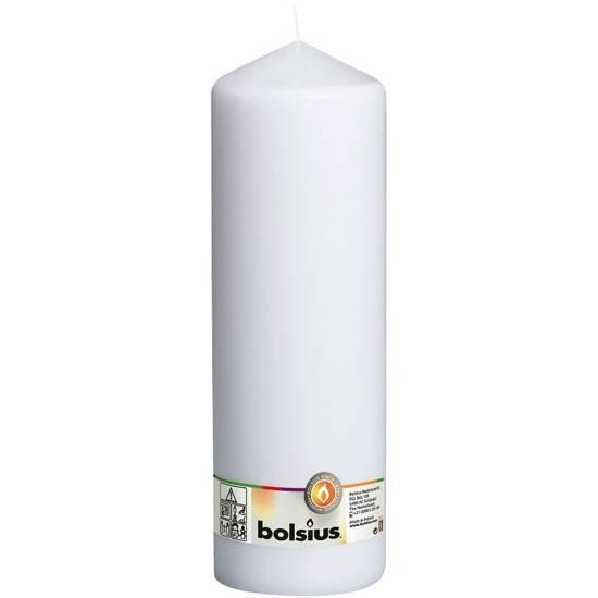 Bolsius świeca bryłowa pieńkowa słupek bezzapachowa 30cm 300/98 mm - Biały