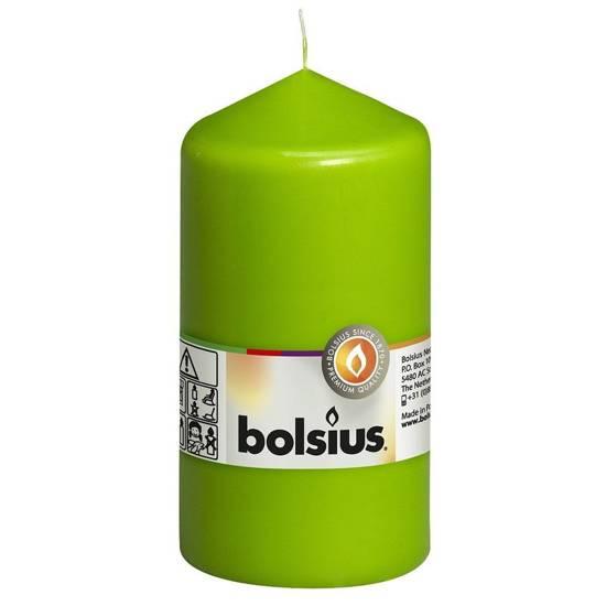 Bolsius świeca bryłowa pieńkowa słupek tradycyjna bezzapachowa 13 cm 130/68 mm - Jasny Zielony Lemon