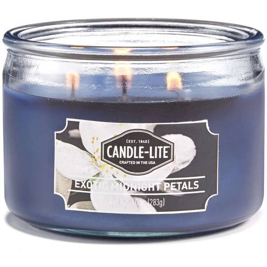 Candle-lite Everyday Collection 3-Wick Terrace Jar Glass Candle 10 oz świeca zapachowa w szkle z trzema knotami 82/105 mm 283 g ~ 40 h - Exotic Midnight Petals